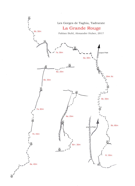 Topo for La Grand Rouge in Taghia Gorge.