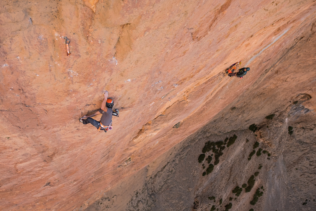 Fabian Buhl in the middle of the run-out crux pitch of La Grand Rouge.