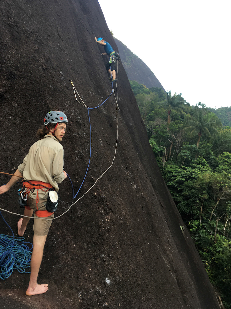 Kieran Brownie (belaying) and Dave Allfrey on the new route up Cerro Pajarito.