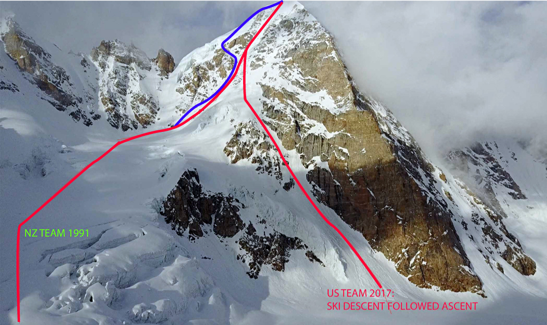 The west face of Papsura. The blue line is the route descended by a Korean team in 2017 (northwest ridge into the lower west couloir). The red lines show the 1991 New Zealand route in the west couloir and the 2017 variant, which was followed for the first ski descent of the mountain.