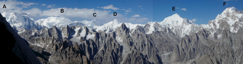 Panorama looking northeast to east over the Saltoro Range from glacier dubbed Ghiacciaio Marta by the 2017 team. (A) Baltoro Kangri (7,300m). (B) Sia Kangri (7,424m). (C) Mt. Hardinge (Sia Kangri South, 7,075m). (D) Silver Throne (6,630m). (E) Ghent (7,401m). (F) Sherpi Kangri (7,380m).
