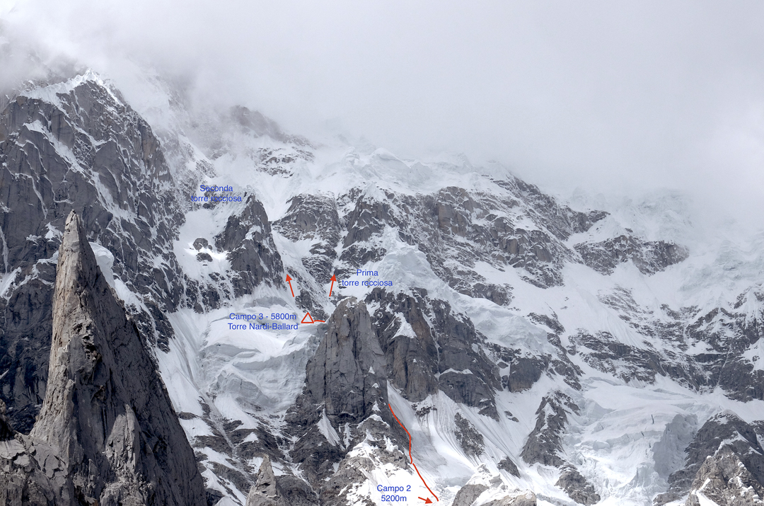 Possibilities for progress above Ballard and Nardi's 2017 high point, Camp 3 (5,600m), on the northeast face of Link Sar.