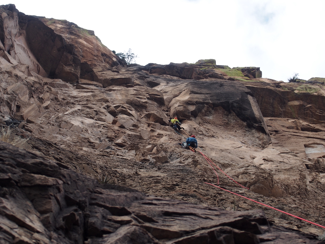 Climbing on the First Lucky Strike, the first route up La Catedral.