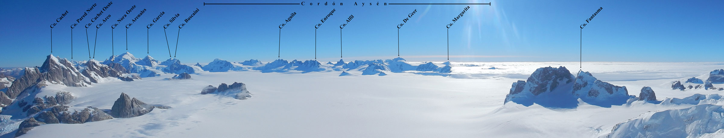 Panorama looking south and west across the Northern Patagonian Icefield from the summit of Pantagruel.