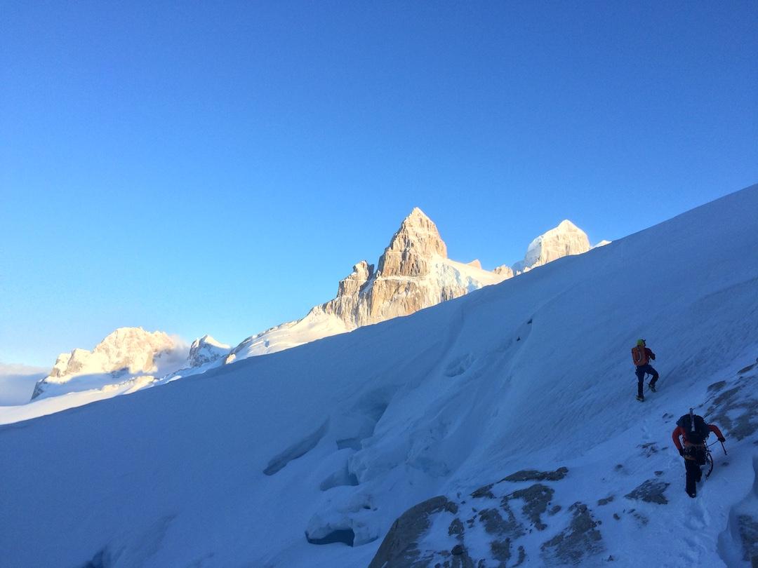 Approaching Pantagruel (center). The peak at right is Gargantua.