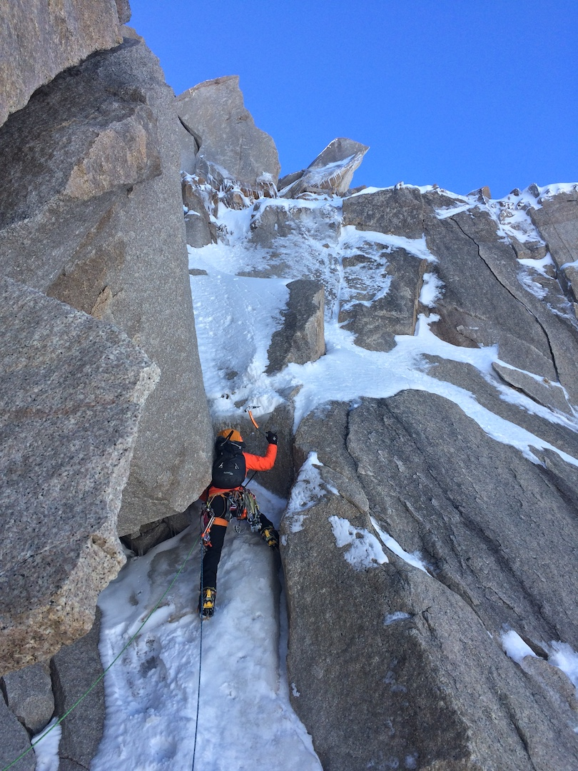 Max Fisher climbing during the first ascent of Pantagruel.
