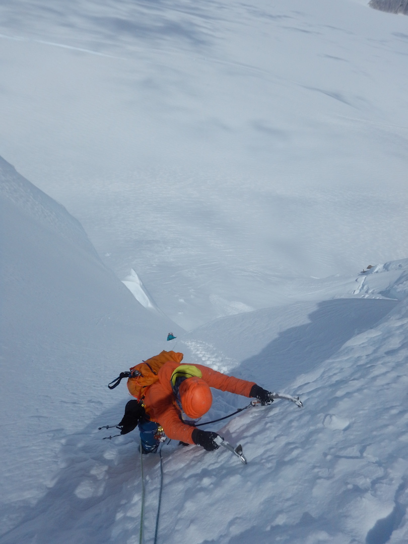 Felipe Cancino climbing during the first ascent of Cerro Fantasma.