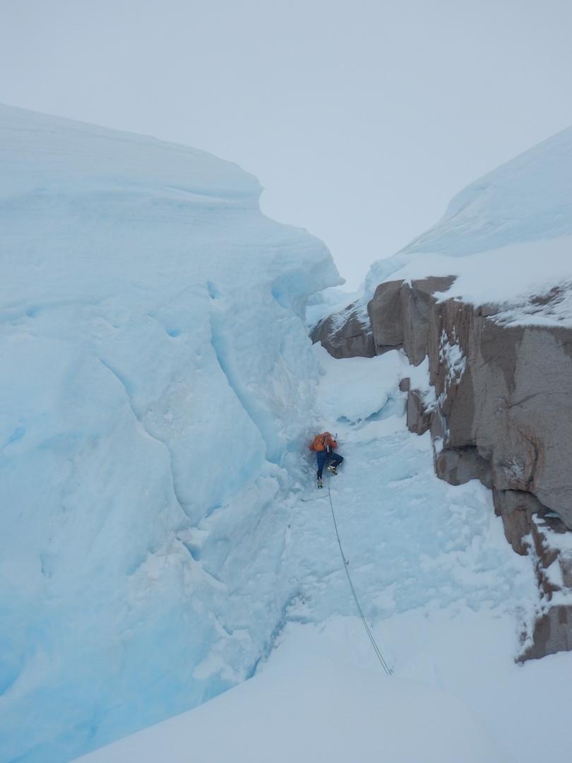 Felipe Cancino climbing during the first ascent of Cerro Fantasma.