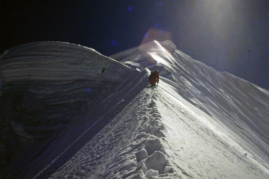 Ascending the south spur of Illimani Pico Norte in 1989 during the first known ascent.