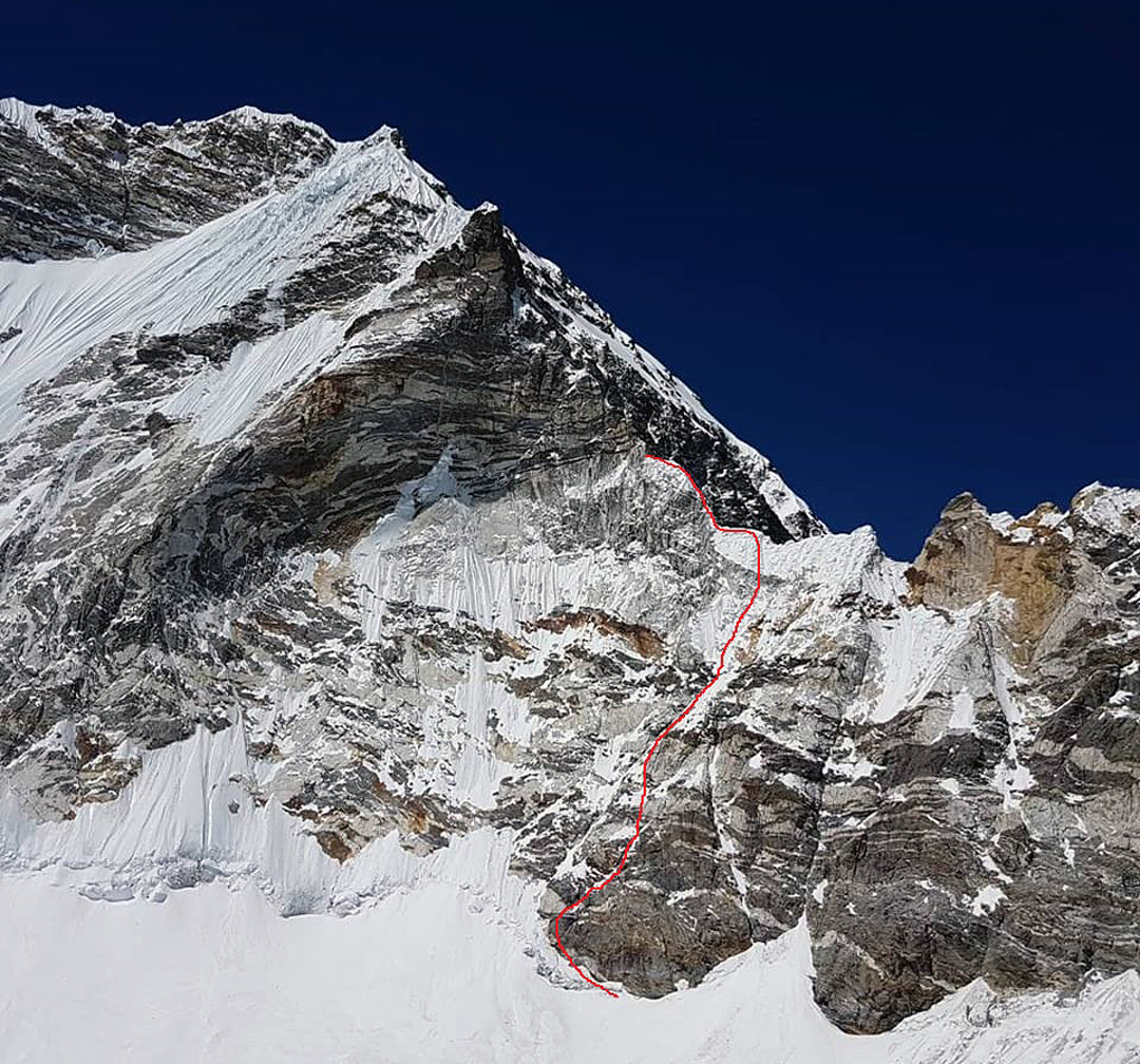 The north pillar of Chamlang from the glacier to the northeast, showing the attempted route and high point of the 2018 French expedition.