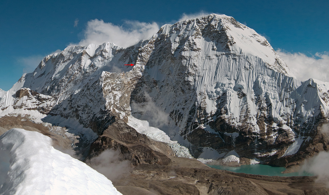 The broad north face of Chamlang with the high point of the 2018 French expedition, which started by climbing to a col on the foreground ridge (left) and then climbing the far (east) side of the north pillar.