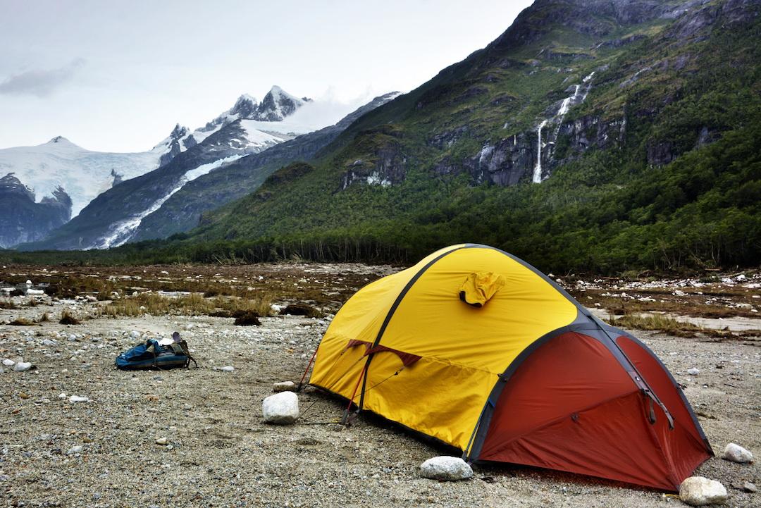 Base camp below the Riso Patrón group.