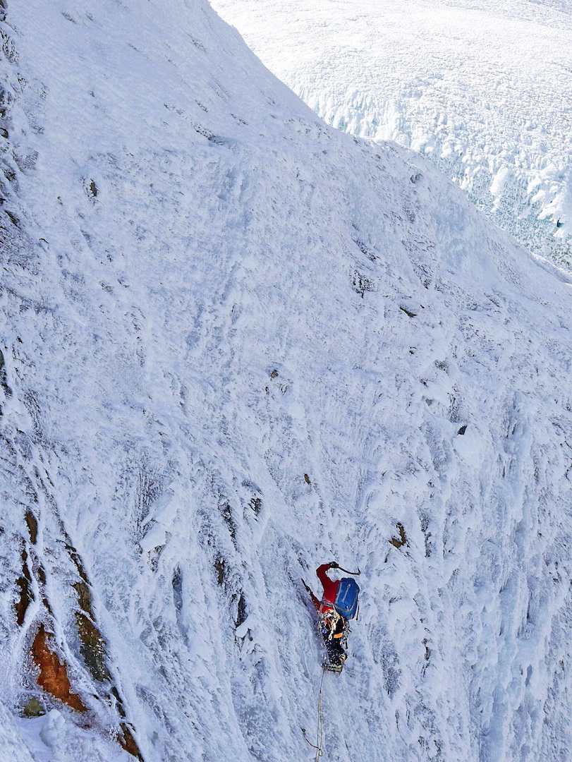 Climbing steep ice on Cerro Riso Patrón Sur.