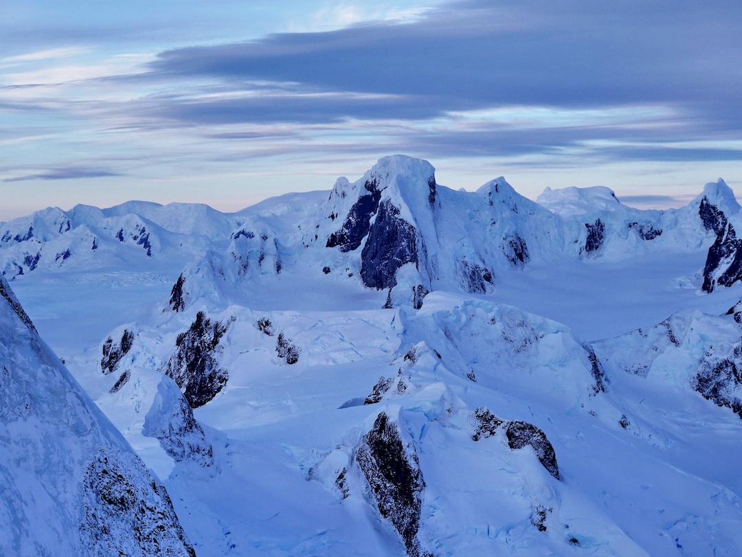 View to the northeast from Cerro Riso Patrón Sur. The high peak in center is Cerro Buracchio.