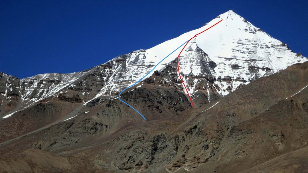 The south face of CCKN showing (red) the 2018 attempt and high point at a large crevasse, and (blue) the line of descent on the southwest face.