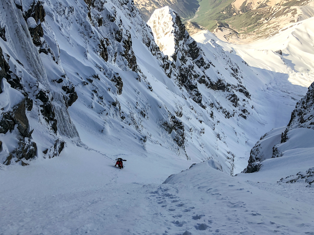 Mary McIntyre partway up the southwest couloir of Shkhara West.
