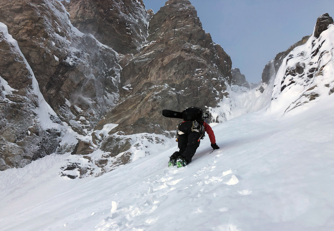 "Mary McIntyre heading toward the ""narrows"" in the southwest couloir of Shkhara West."