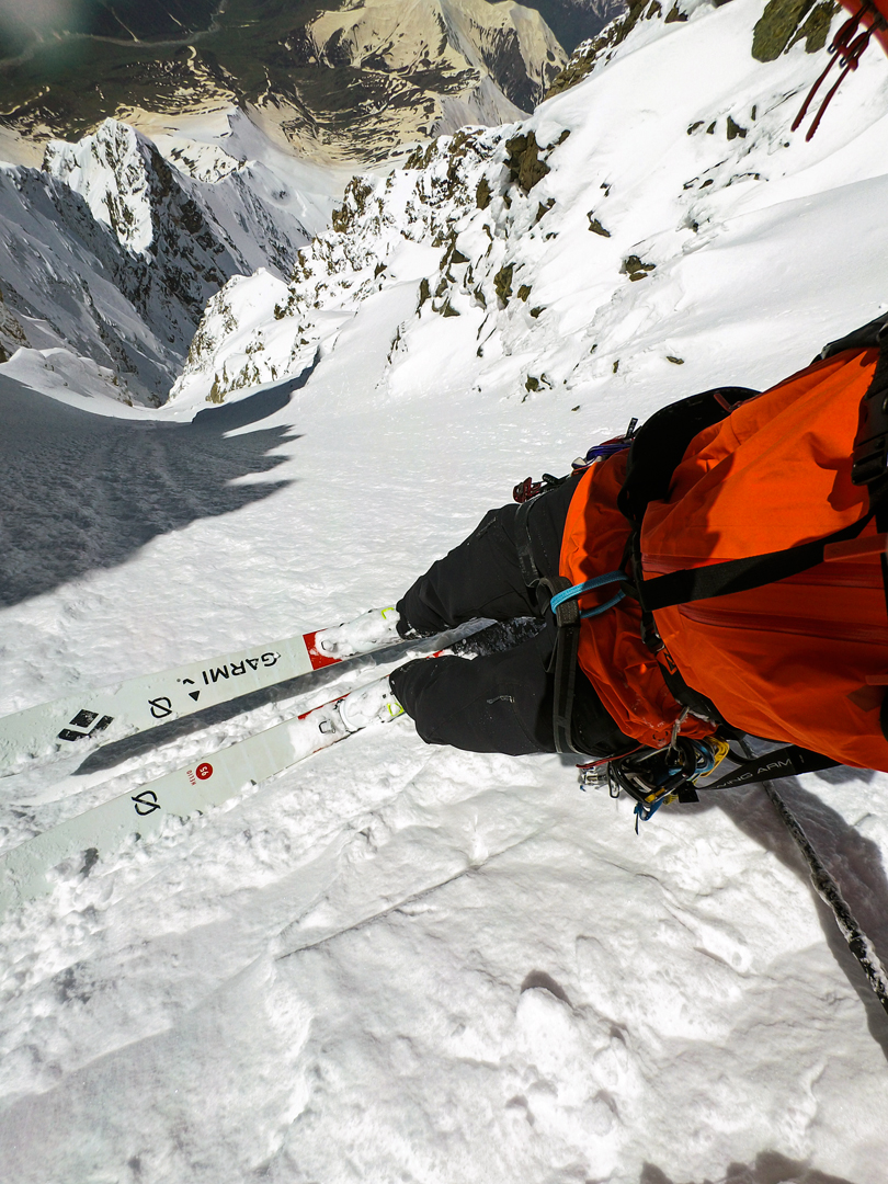 A skier's view from the upper part of the southwest couloir of Shkhara West.