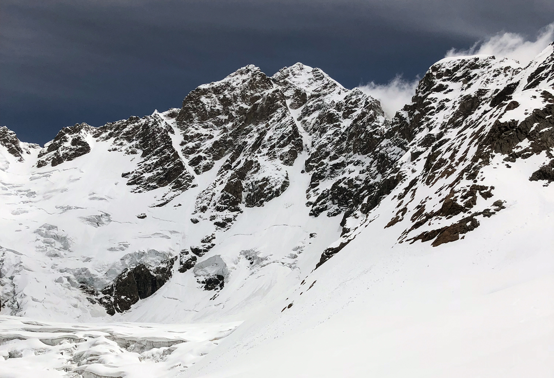 The southwest couloir of Shkhara West (5,068m) from the Xalde Glacier.