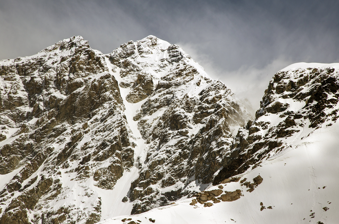 The southwest couloir of Shkhara West (5,068m); the summit is the snow-capped peak to the right.