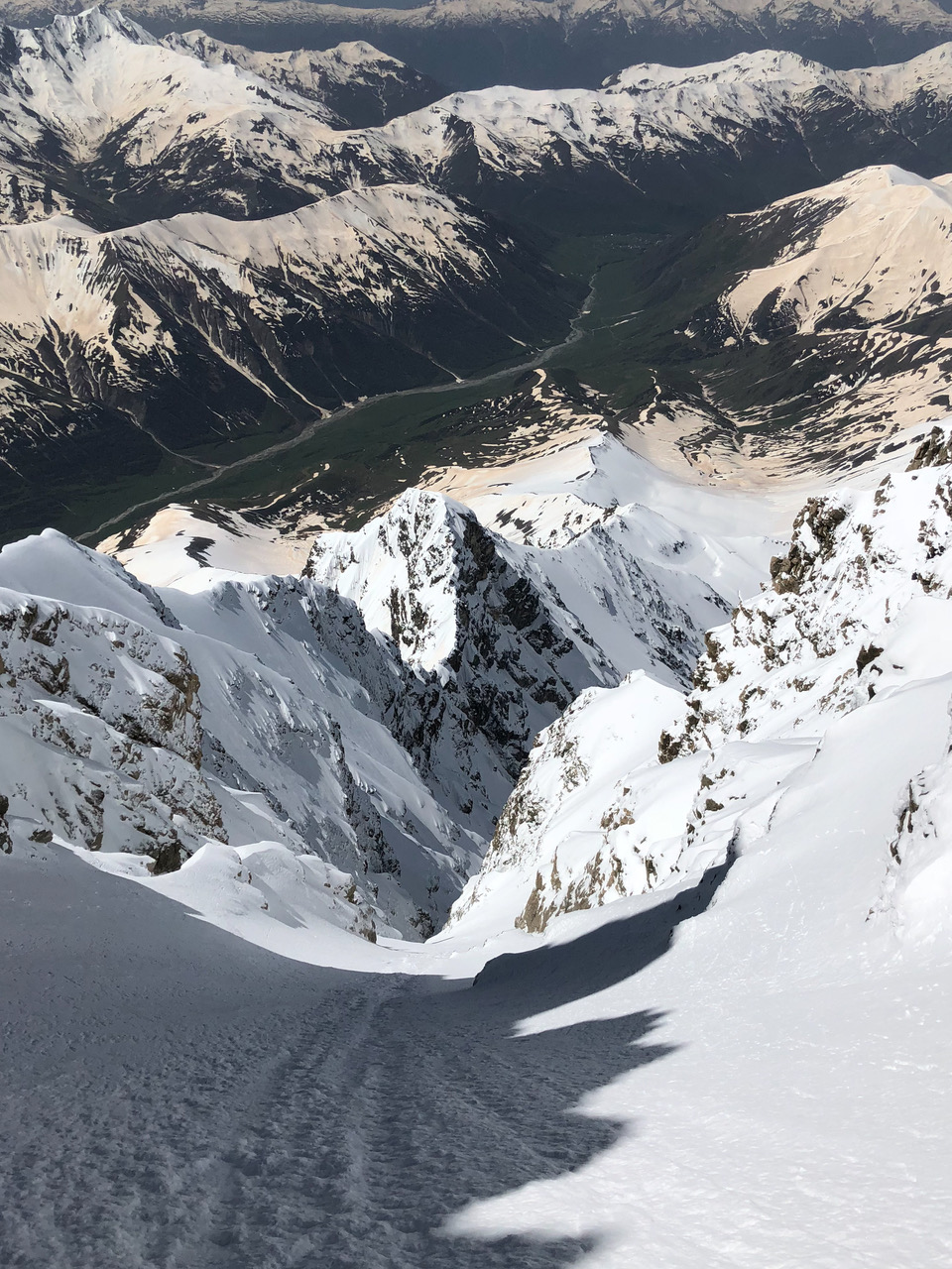 The view down the southwest couloir from high on Shkhara West.