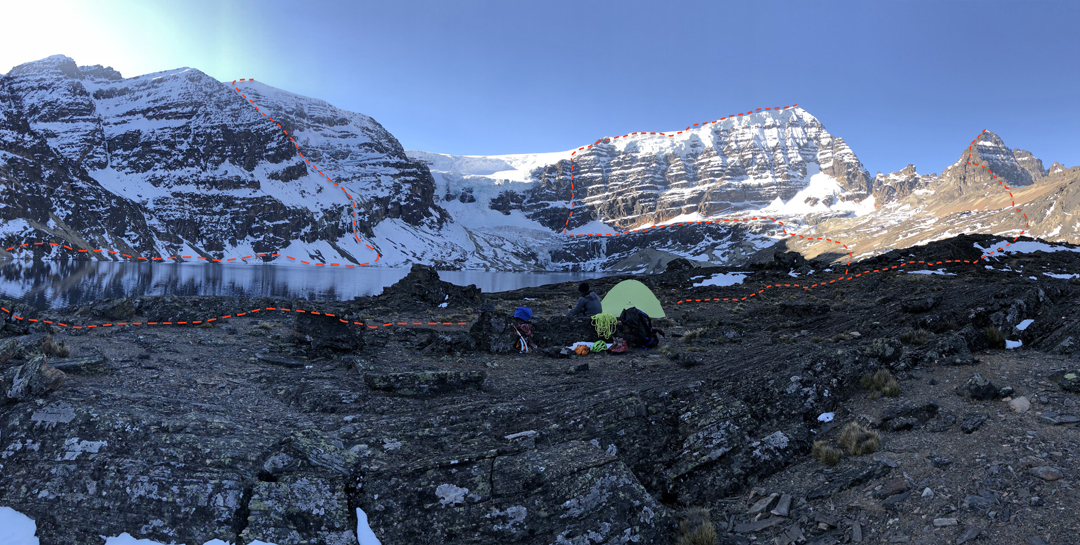 Camp at Laguna Arkhata, looking north and showing the 2018 approach routes and climbs on the southeast face of Cerro Arkhata (left), Mururata (center), and Cerro Willa Sallaloma.