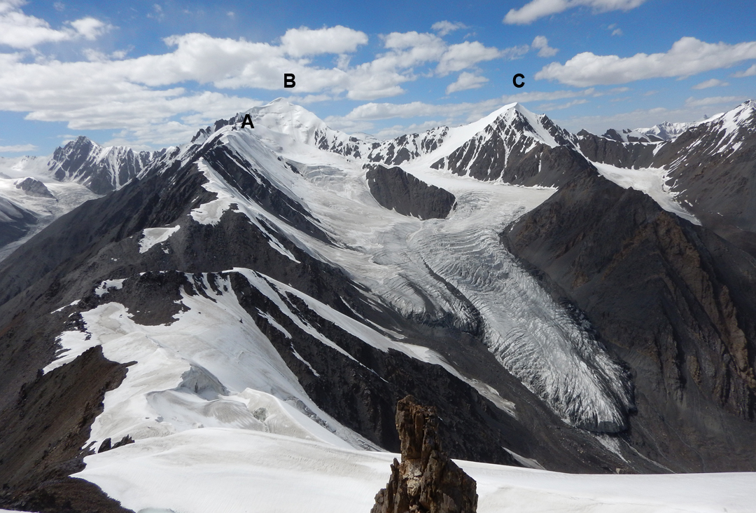 Looking west from the western rim of the Fourth Koksil Glacier at the Fifth Koksil Glacier and (A) Peak 5,809m, (B) Chapchingol Sar (6,103m), and (C) Peak 5,802m, all climbed for the first time in 2018. The Chapchingol Pass (5,241m) lies hidden in the obvious dip in the ridge running away from the camera.