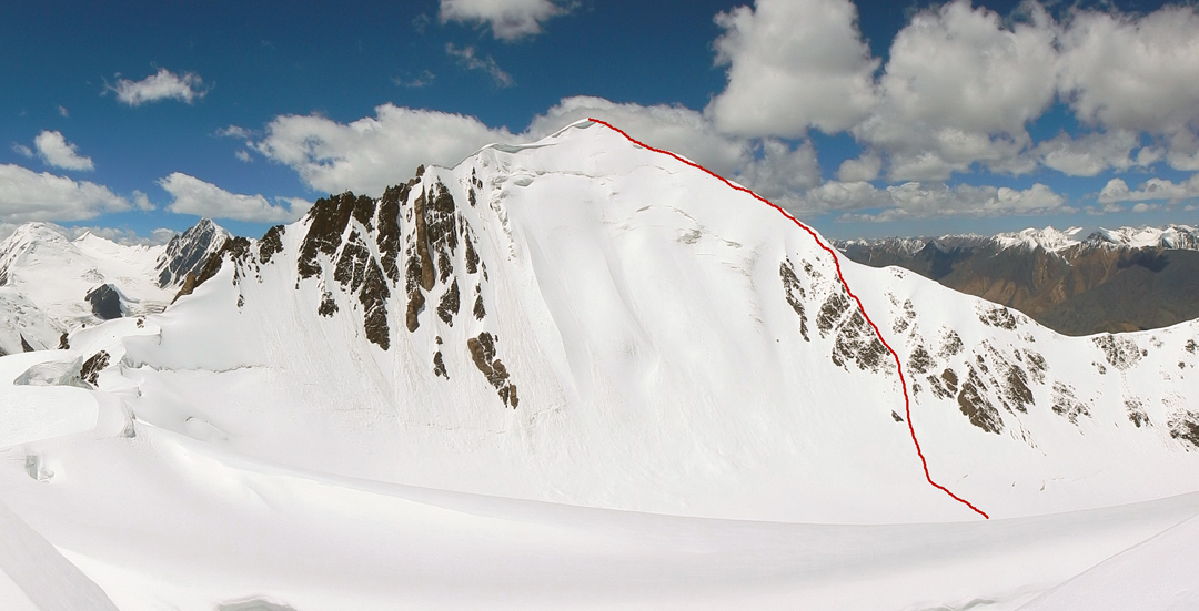 The southeast face and northeast ridge of Chapchingol Sar.