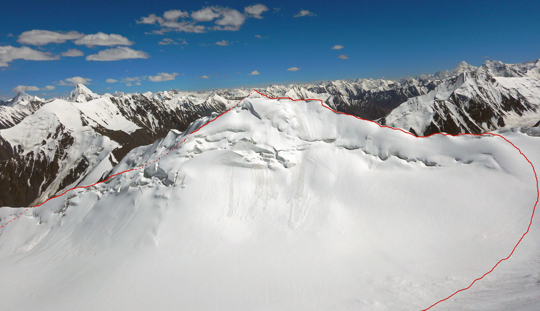 Looking southeast at Peak 5,809m and the east-west traverse completed in 2018, followed by a descent of the upper Fifth Koskil Glacier.