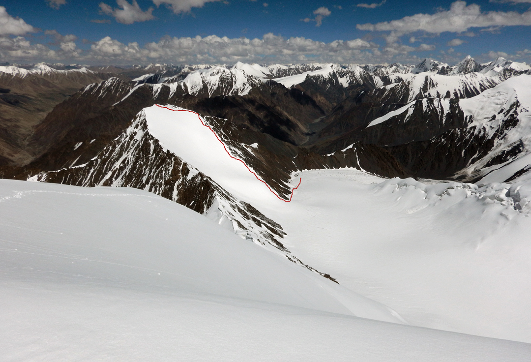 Looking east down the Fifth Koksil Glacier and the route of ascent up Peak 5,802m via the south-southwest face.