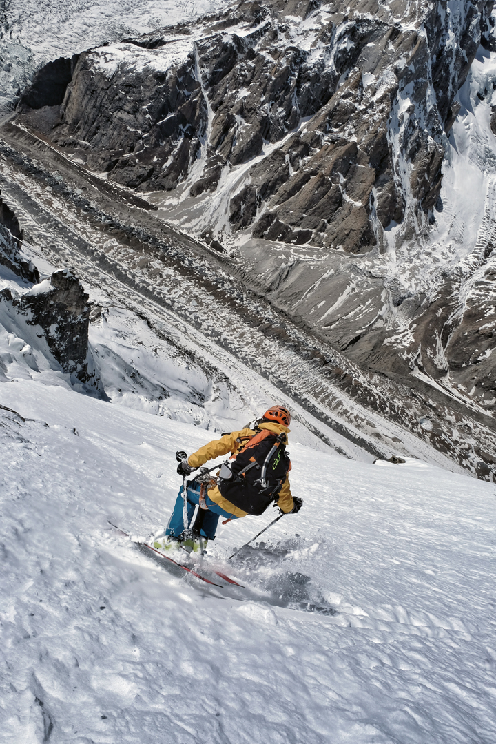 Tiphaine Duperier skiing the northwest face of Laila with the Gondokhoro Glacier far below.