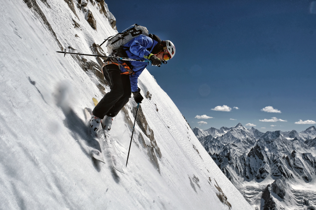 Carole Chambaret testing her steep skiing technique on the northwest face of Laila.
