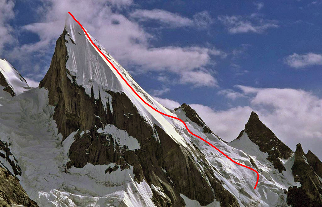 Laila Peak and the northwest face skied by French and Italian-Swiss teams in May 2018.