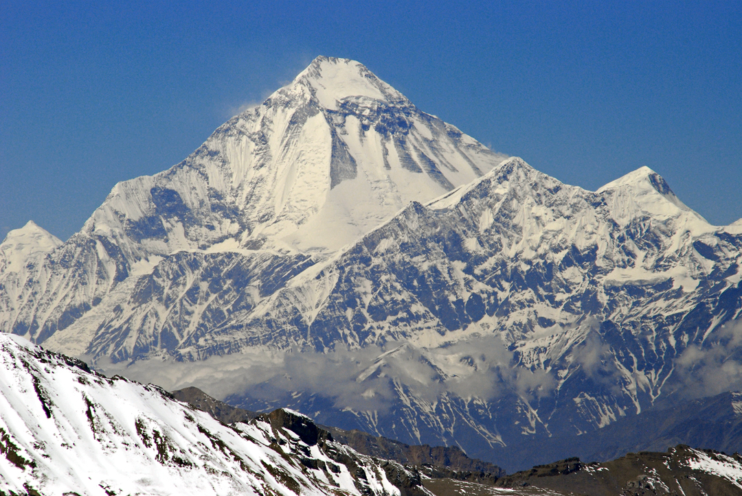 A telephoto of the north face of Dhaulagiri (8,167m) from the summit of Dhechyan Kang. Tukuche (6,920m) is the peak in front of the right skyline of Dhaulagiri.