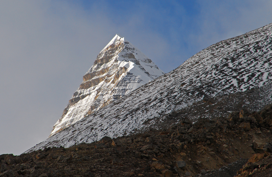 The spectacular summit of Chako, seen to the north in this telephoto from Nagoru Yak Kharka. This border peak was first climbed via the southwest ridge in 2007 by Japanese (AAJ 2008).