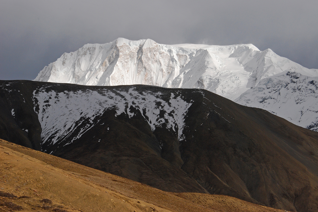 The north face of Gyaji Kang (7,074m). The safest normal route follows the right skyline: the northwest spur to west ridge. Note the fine unclimbed prow dropping directly from the summit.
