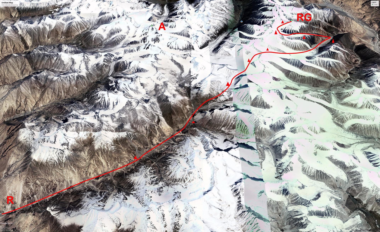 The journey to Rangston Gyathok. (R) Rongdo Village (3,200m). (A) Argan Kangri (6,789m, first climbed in 1970). (RG) Rangston Gyathok (6,801m). Campsites are marked.