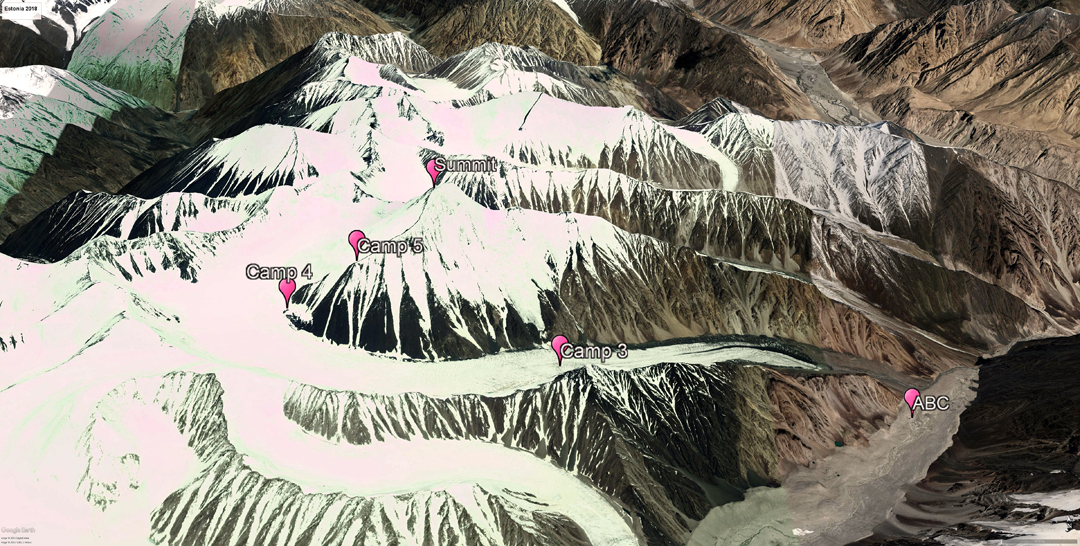 The last four camps en route to the summit of Rangston Gyathok. ABC on the Phurdokpa Glacier, Camps 3 and 4 on the North Phurdokpa Glacier, and Camp 5 on the southwest ridge. The main river valley in top right of the image is the Shyok.