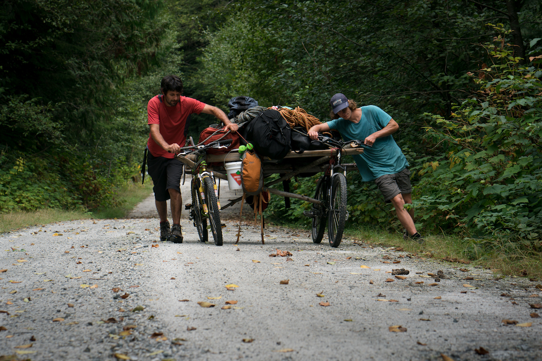 """A mountain bike """"rickshaw"""" was used to haul equipment 16 kilometers en route to Super Unknown."""
