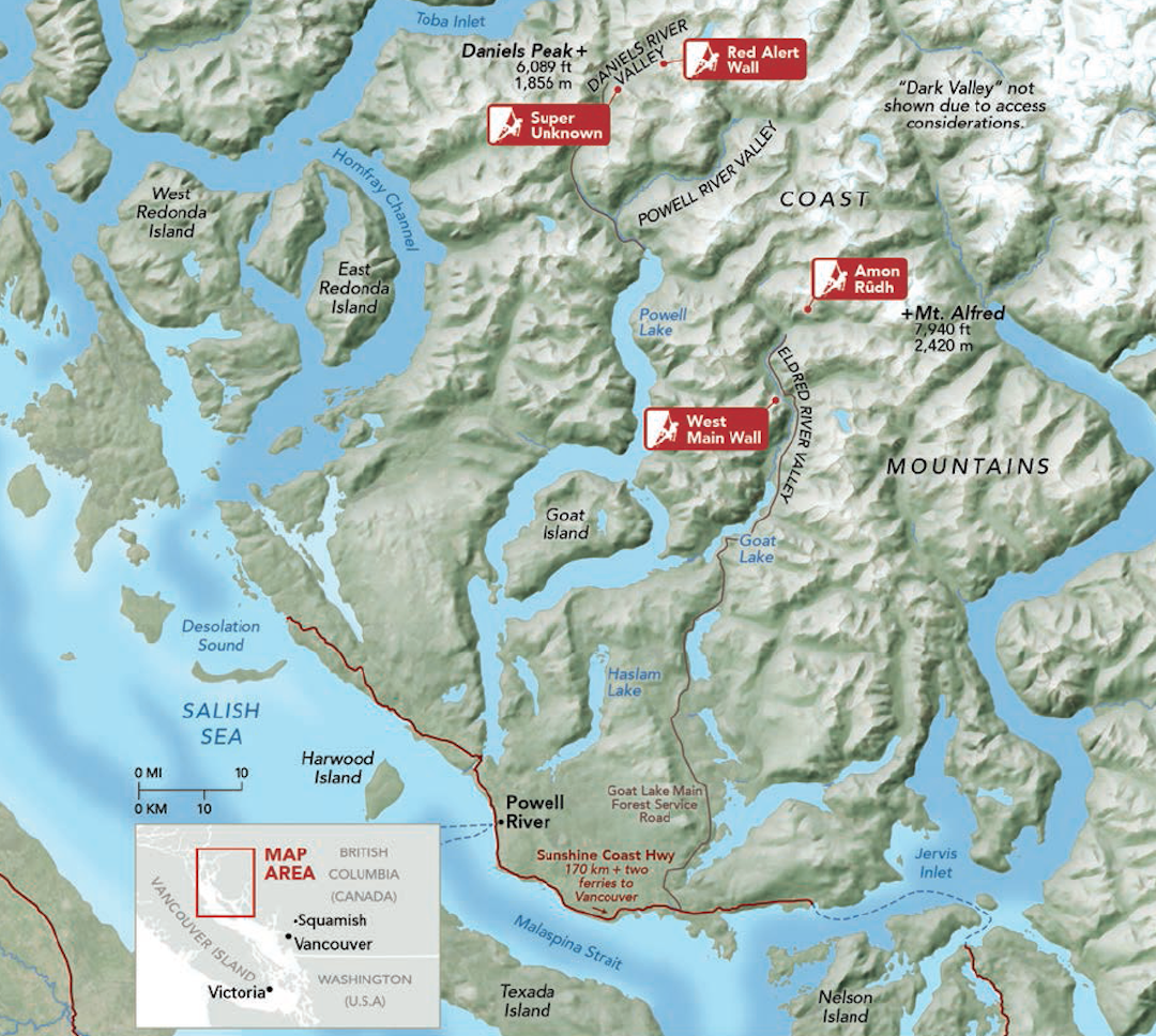"""The Eldred and Daniels valleys are accessed from the isolated town of Powell River, BC. To the north, the """"Big Wall Belt"""" extends for hundreds of miles. Map sources: NASA, Government of Canada."""