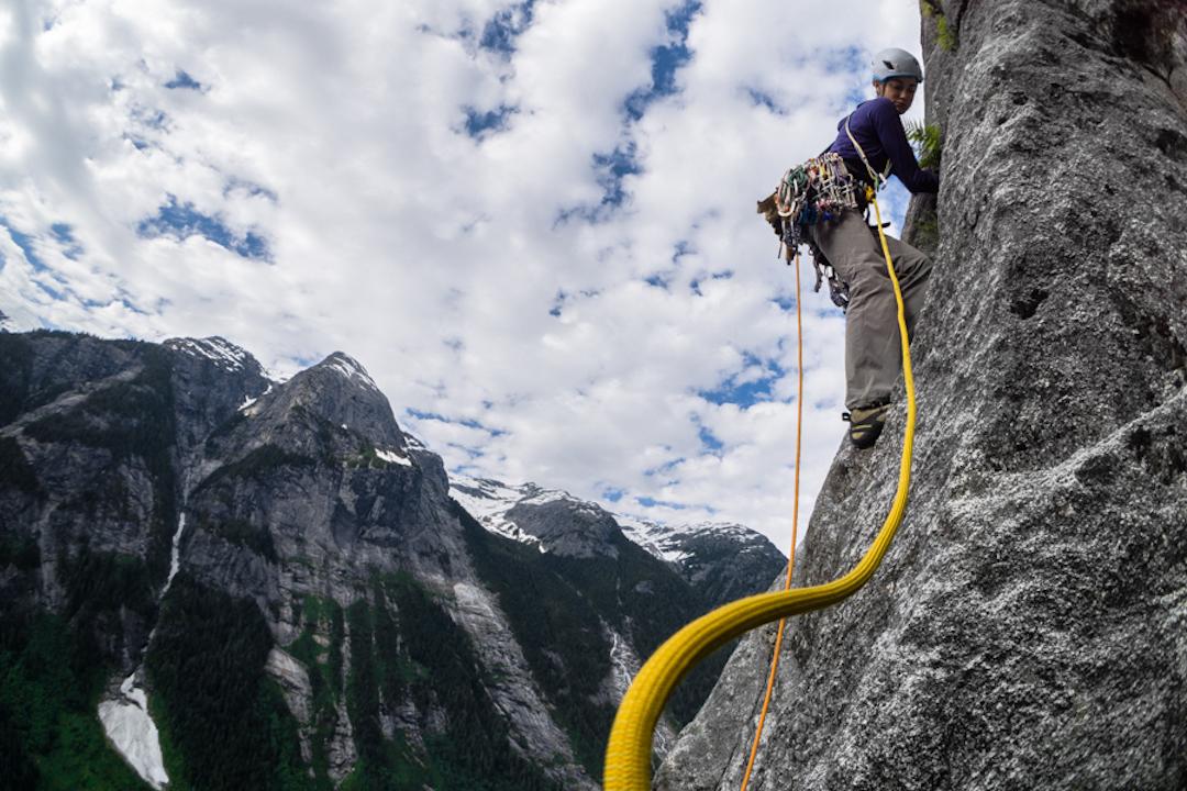 Miranda Oakley climbing on Northwest Passage.