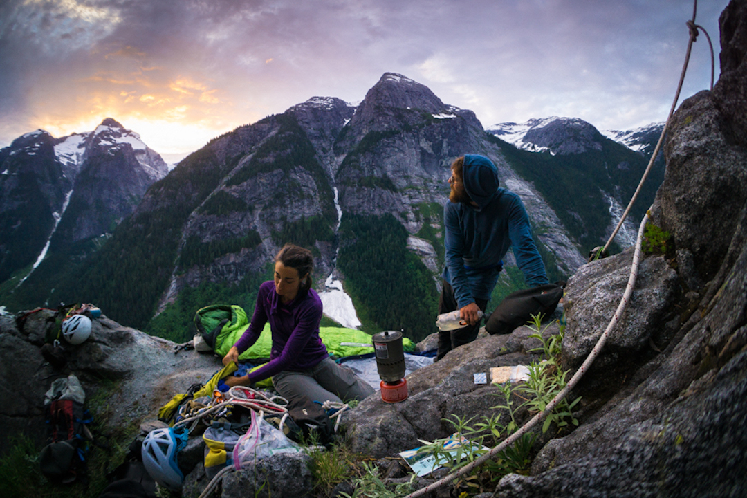 Miranda Oakley and Chris Kalman settle in for their second night on the wall during the first ascent of Northwest Passage.