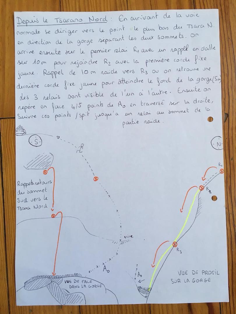 Topo and notes on the traverse between Tsaranoro Be and Tsaranoro Atsimo.