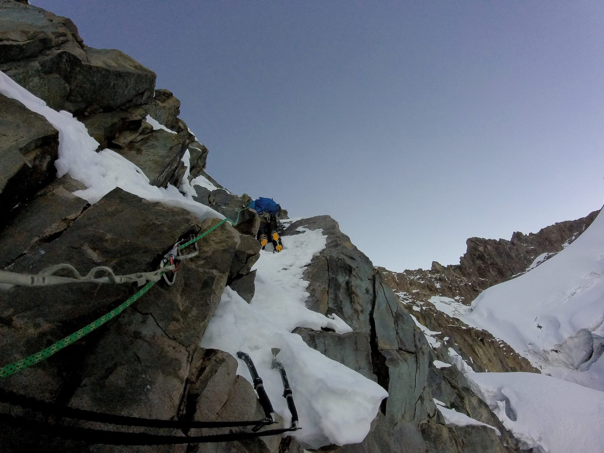 Climbing on the southwest face of the south peak of Nevado Chicón.
