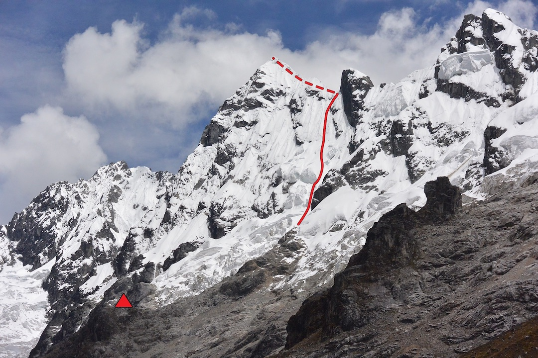 The line of the first ascent of Nevado Humantay South (5,459m), west of Nevado Salcantay. High camp is marked. The climbers finished on the upper east face and descended the northeast face into the Ahobamba Valley.