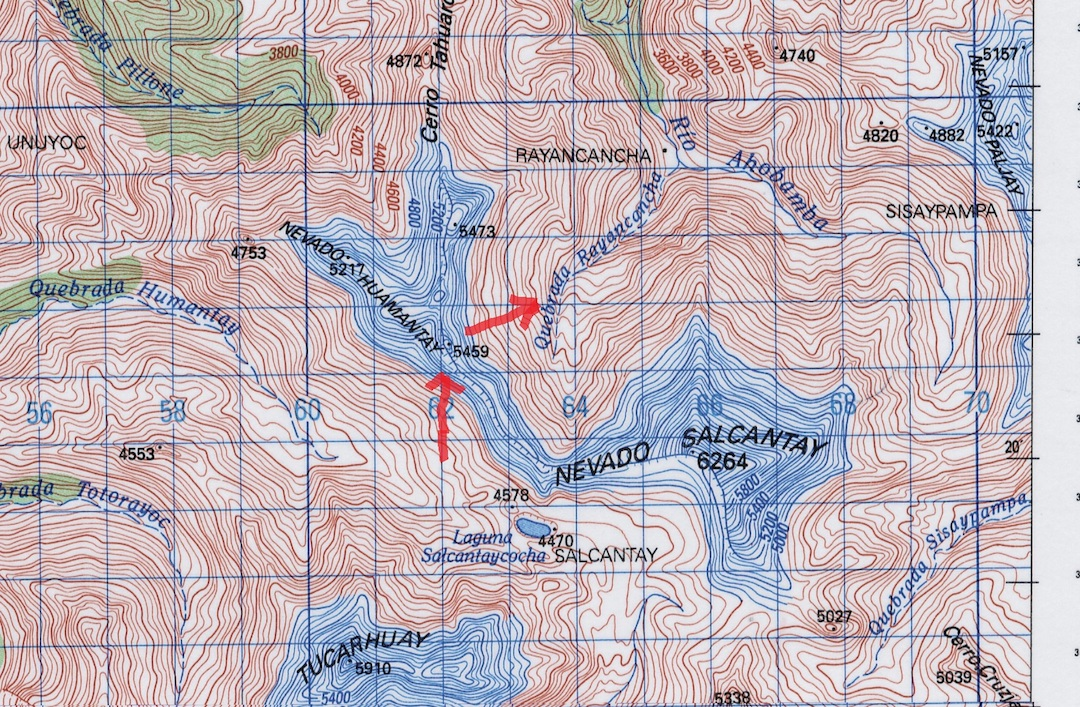 Map showing the ascent and descent routes for Nevado Humantay South.