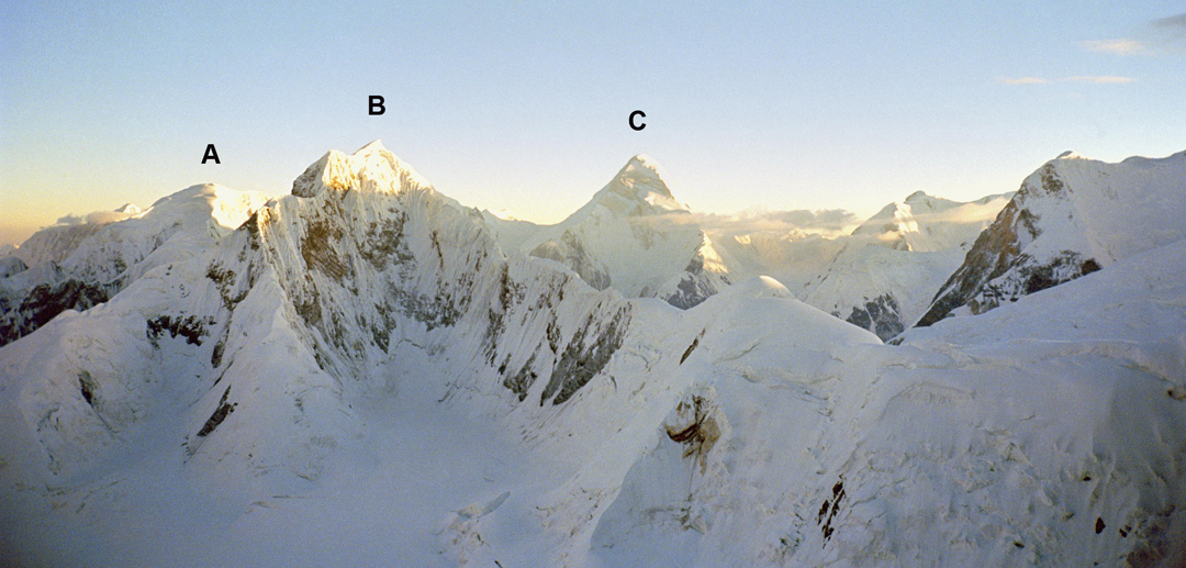Looking north just after dawn during the ascent of Pobeda East. (A) Ak-tau (6,181m). (B) Pik 6,201m. (C) Khan Tengri (6,995m).