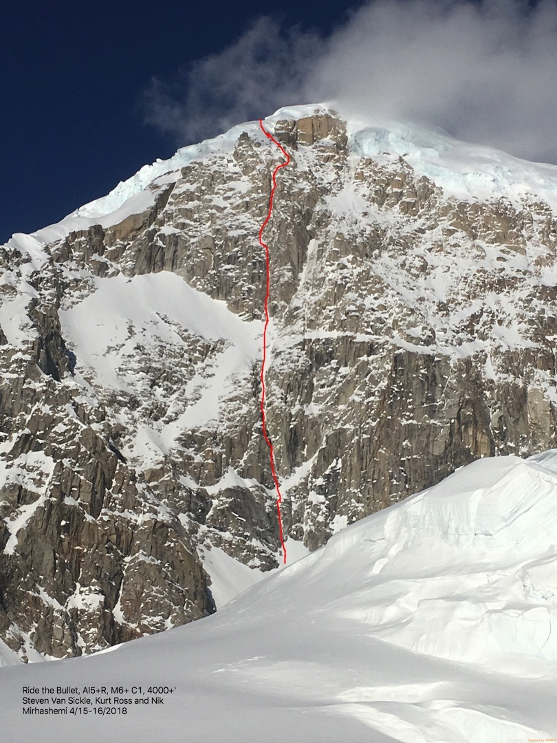 The southwest face of West Kahiltna Peak, showing the line of Ride the Bullet (4,000', AI5+ R M6+ C1). Nik Mirahshemi and Kurt Ross completed the route over two days in mid-April.