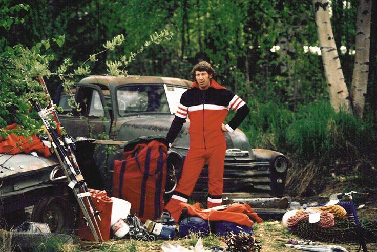 Jim Bridwell in Talkeetna, Alaska, before an attempt on the then-unclimbed east face of Mooses Tooth.