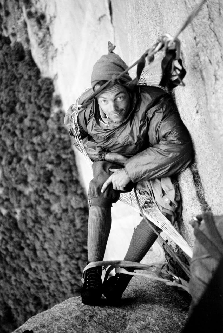 Tom Frost at a hammock bivouac high on the Dihedral Wall, during the second ascent.